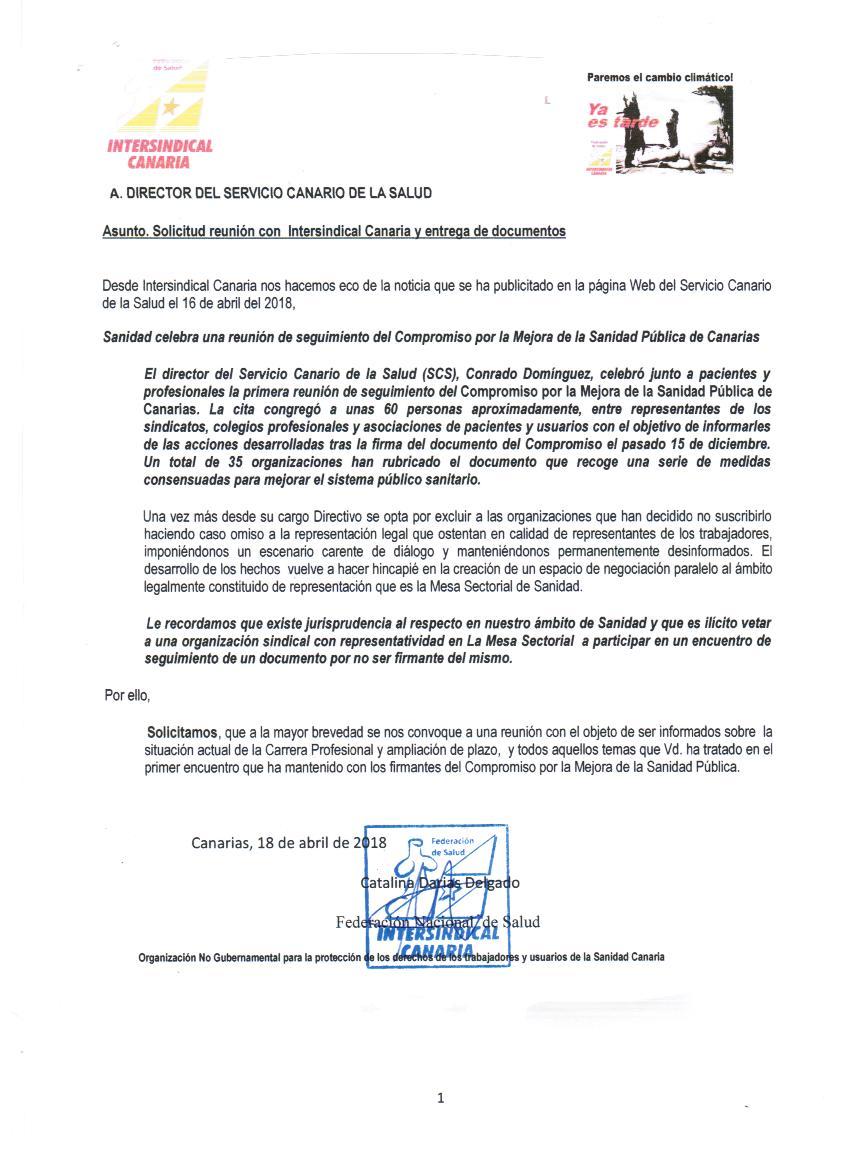 Intersindical Canaria - Federación de Salud G.C.- Intersindical
